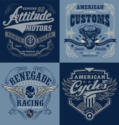 Vintage motorsport emblem graphic set vector