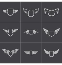black shield icons set vector image