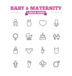 Baby and maternity linear icons set thin outline vector