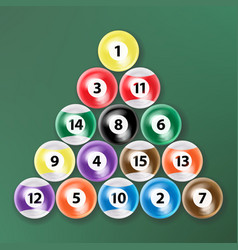 billiard ball set realistic isolated vector image