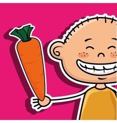 Boy vegetables fork carrot vector