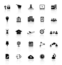 Business connection icons with reflect on white vector