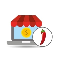 Buying online red chili vegetable icon vector