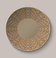 Circular pattern in the Greek style on the plate vector image