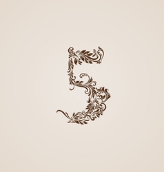 Decorated five digit on beige vector