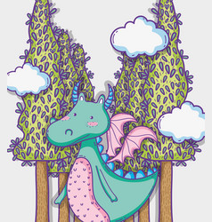 Dragon in magical world man with sunglasses and vector