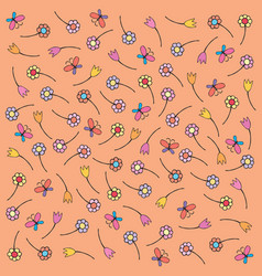 Floral pattern in doodle style with flowers vector
