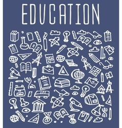 Hand drawn School education seamless logo vector image vector image