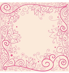 Hand drown pink floral pattern vector image vector image