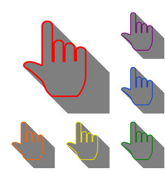 hand sign set of red orange yellow vector image vector image