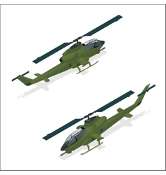 Isometric military helicopter or army helicopter vector