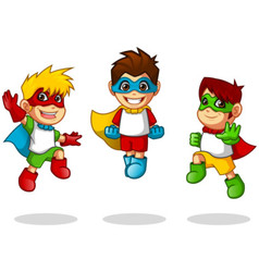 Kid Super Heroes Flying Pose vector image