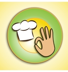 Logo of chef cap and okay sign vector