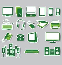 Media icon set green color vector