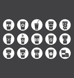 Paper coffee cup icons vector