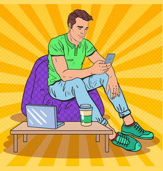 pop art man texting on smartphone on coffee shop vector image
