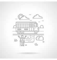 School bus detail line icon vector