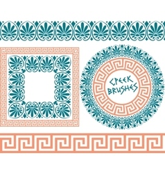 Set 1 brushes greek meander patterns vector