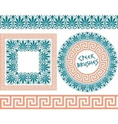 Set 1 brushes greek meander patterns vector