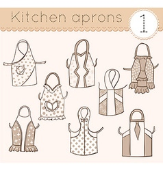 set of kitchen aprons 1 vector image
