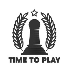 Time to play chess club emblem with black pawn vector