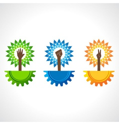 Unity victory and helping hand make tree on gear vector image vector image
