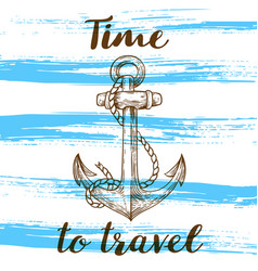 Vintage blue travel background vector