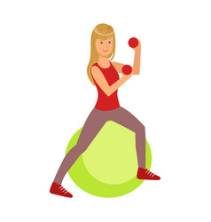 Young blond woman exercising on green fitball vector