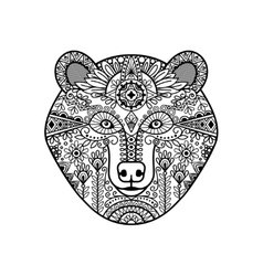 Zentangle bear head vector image vector image