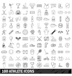 100 athlete icons set outline style vector
