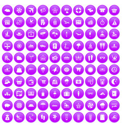 100 seaside resort icons set purple vector