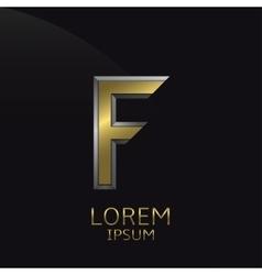 Golden F Letter emblem vector image