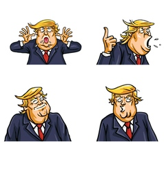 Donald trump face expressions set pack vector