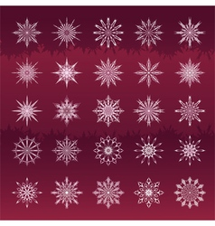 Set of snowflakes vinous background vector