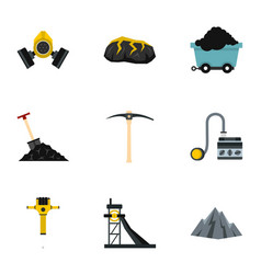 Miner equipment icons set flat style vector