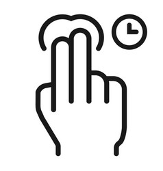 2 finger press and hold line icon touch gesture vector image