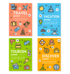 Travel flyer banner placard set vector