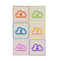 Abstract flat paper cloud icons vector
