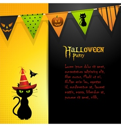 Halloween black cat panel background vector