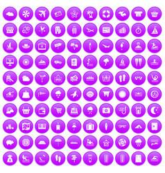 100 seaside resort icons set purple vector