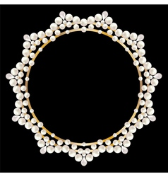Pearl jewelry frame on black background vector