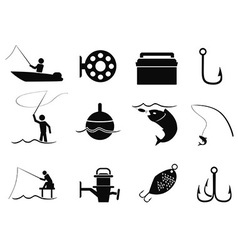 Black fishing icons set vector