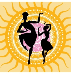 Mandala indian dancers silhouettes vector