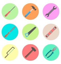 Set of tools in the colored circles vector