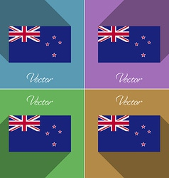 Flags new zeland set of colors flat design and vector