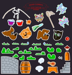 0515 3 stickers kids v vector