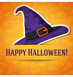Happy halloween greeting card with witch hat vector