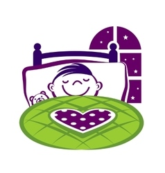 Little boy sleeping in a bed vector