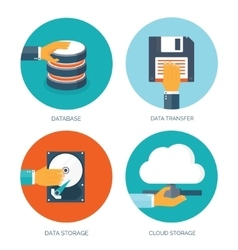Flat data storage Cloud vector image