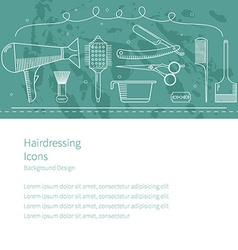 Background horizontal hairdressing icons vector